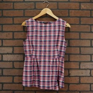 THEORY Plaid Checked Sleeveless Top Size Small